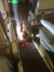 Daniel the emotional support duck sported red shoes and a Captain American diaper during a short flight from Charlotte to Asheville.