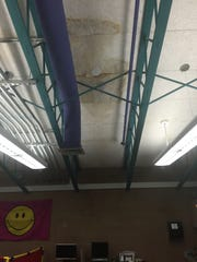 The ceiling inside this classroom in Billinghurst Middle School is marked by leaks letting in rainwater last weekend.