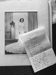 Seventy years ago, Anthony Walch wrote his new bride a poem that he gave her on their wedding night at the Book. Her gown is made from a 50-lb bolt of airplane silk her brother, Joe, sent her from a confiscated warehouse in Japan.