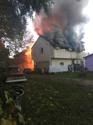Fire destroyed a Lagoon Drive home in Hamburg Township. The fire spread to a second home, but damage is not immediately known.
