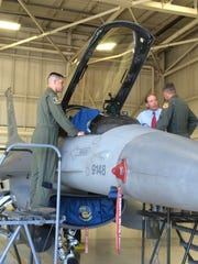 Sen. Tom Udall observes an F-16 Fighting Falcon at Holloman Air Force Base on Monday. Holloman can possibly be selected to house two F-16 squadrons from Hill Air Force Base in Utah.