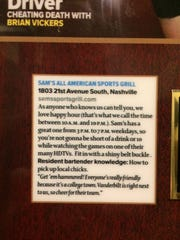 A blurb from Maxim magazine in the men's bathroom at Sam's Sports bar in Belle Meade