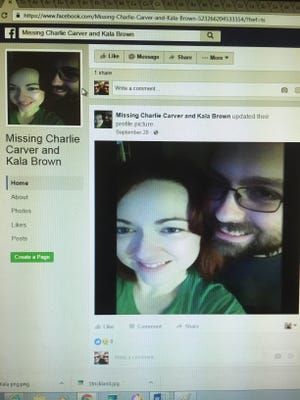 A photo of a Facebook page asking for helping finding Kala Brown and Charles Carver.