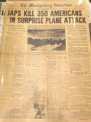 The front page of the Montgomery Advertise on Dec. 8, 1941.