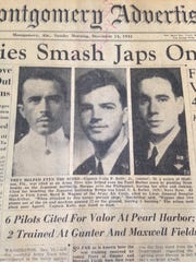 The Montgomery Advertiser Front Page honoring three Pearl Harbor survivors from Maxwell and Gunter.