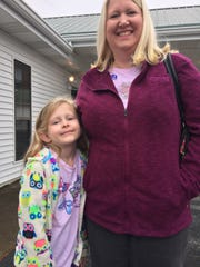 Fair Grove resident Brenda Presko brought daughter Becca, 6, to experience voting in an election.