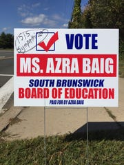 A Muslim civil liberties and advocacy organization in November called on state and federal law-enforcement authorities to investigate hate graffiti left on the campaign lawn signs of South Brunswick Board of Education member Azra Baig.