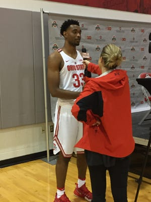 Ohio State forward Keita Bates-Diop is interviewed during the Buckeyes' media day earlier this fall. Ohio State opens the 2016-17 season on the road at Navy Friday night.