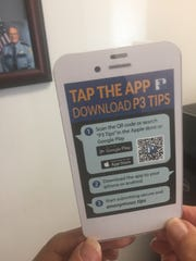 A card gives instructions on downloading an app that