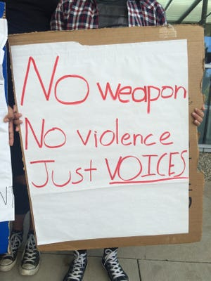 This is a sign from the protest at CSU Channel Islands.