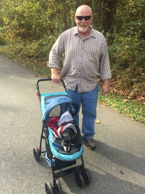 Walking the dog We bumped into William Chittenden while taking his fur baby Skeeter for a walk in Wesselman Park.  The 13-year-old Skeeter has arthritis and spends some of her park time in her stroller.