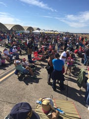 Crowds await the Blue Angels during Saturday's Blue Angels Homecoming Show at Pensacola Naval Air Station.