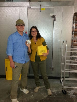 Linda Freeman is shown with Michael Schwarz of Treeline Artisanal Cashew Cheese, which is based out of Kingston.