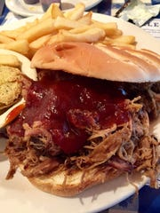 Pulled pork sandwich from Loveless Cafe — with some