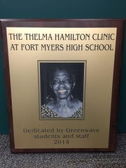 The clinic at Fort Myers High School will one day be dedicated in memory of Thelma Hamilton, who served the school for 40 years.