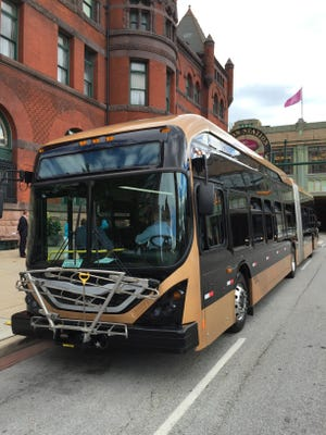 A prototype of a bus rapid transit bus in Indianapolis