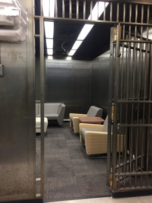 Student lounges are in the basement of the Camden Academic Building, in spaces that once housed bank vaults.