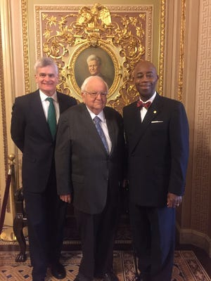 U.S. Sen. Bill Cassidy, R-La., left, invited Bishop Emeritus T.F. Tenney to deliver the opening prayer in the U.S. Senate Tuesday. Senate Chaplain Barry Black is pictured on the right.