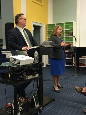 Glen Ridge Schools Superintendent Dirk Phillips, left, and Board of Education President Betsy Ginsburg speak to the audience during the Dec. 7 forum in Linden Avenue School to discuss Referendum 17.