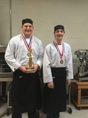 """Plymouth High School culinary arts students Derek Schweiger and Eric Grauman took second Dec. 2 at the Fox Valley Technical College """"Culinary Throwdown."""""""