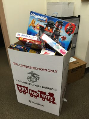 A full Toys for Tots donation box is seen at the Glen Ridge Municipal Building on Friday, Dec. 16, the last day of the borough's Toys for Tots drive.