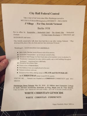 Anti-Semitic fliers were found on several seats at the Burlington City Council meeting on Monday, Dec. 19, 2016.