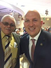 Joe Castro, board president of the PSL Hispanic American Club, and Port St. Lucie Mayor Greg Oravec.