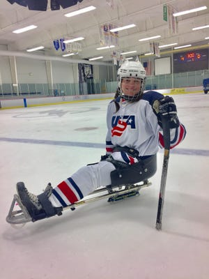 Karina Villegas in her Team USA uniform during the Ice Sports Forum recently in Tampa.