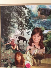 A collage of photographs capturing Annette Craver Vail's life hangs on Mary Rose's wall.