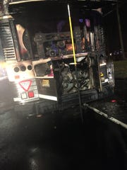 This NJ Transit bus caught fire on Jan. 3 as it traveled on Route 23 in Pequannock.