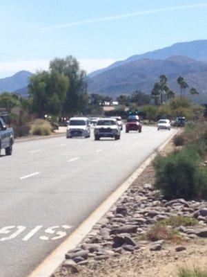 Traffic flows on Gene Autry Trail in Palm Springs. Caltrans is monitoring use of nearby Vista Chino and data could be used to boost safety there.