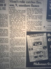 Newspaper clip of the 1980 fire rescue involving Scott