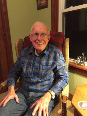 Chuck Temple, Waldo's all-time leading scorer in basketball, sits in his home office outside of Bellefontaine. Temple is a semi-retired pastor.