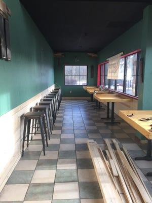 An under-construction front room at Zapper's Pizzeria.