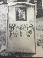 The grave of Carl Etherington, a Kentuck native, sworn