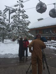 Climate scientist and Doomsday Clock operator Richard Somerville interviewed by a Chicago television station reporter in South Lake Tahoe on Jan. 12, 2017.