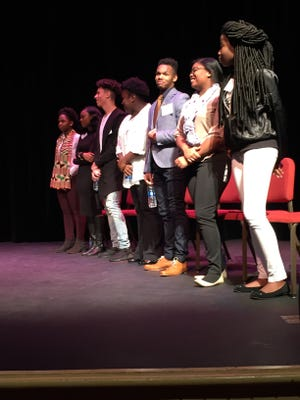 Seven New Castle County high school students participate in the 2017 Dr. Martin Luther King Jr. Communication Contest at the Baby Grand on Sunday, Jan. 15. The contest gave the teens an opportunity to relate King's message to what they are facing today.