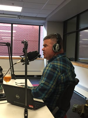 Jason Strempek, co-host of It's the Beer Talking, comments on Backacre Beermakers' Sour Golden Ale during a recording session on January 11, 2017.
