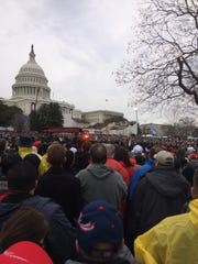 Midwestern State University student Andrew Gray's vantage point of President Donald J. Trump's inauguration ceremony.