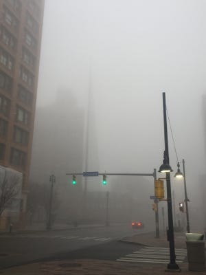 The Liberty Pole is barely visible downtown.
