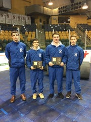 (from left to right) Liam Murphy, Dylan Saggio, Sam Gladson and Evan Fleisig all placed in the top eight in their weight classes in January's county tournament.