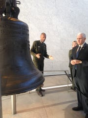 Vice President Mike Pence listens to National Park Service Ranger Larry McClenney talk about the Liberty Bell Feb. 4, 2017. Pence was in Philadelphia to speak about the nomination of Neil Gorsuch to the Supreme Court.