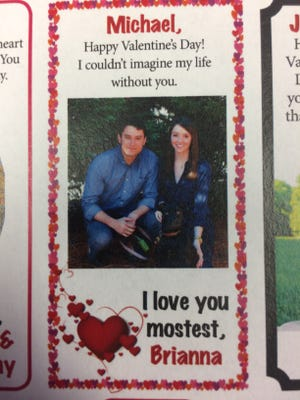 Send your loved ones a valentine, like this one, in The Stewart Houston Times.