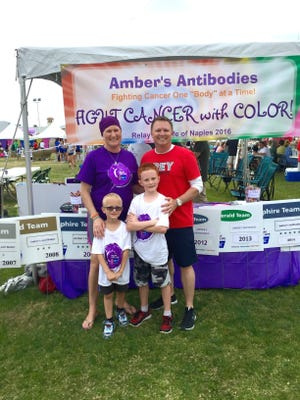 Amber Grider, left, and her family participate at Relay for Life in Naples with Amber's antibodies.