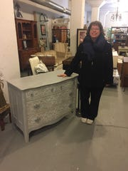 Erica Spiroff with a hand painted chest at eTreasures