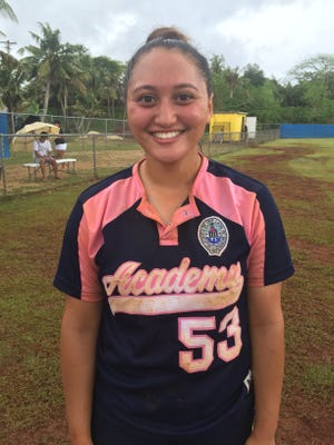 Juliana Nelson hit a two-run homer to help the Academy Cougars defeat the John F. Kennedy Islanders 5-4 in IIAAG softball game at Tai Field. Feb. 11 2017