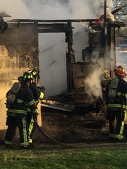 Montgomery firefighters battled a blaze Monday morning