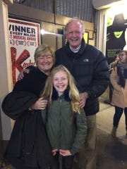 "Madison Smith with her grandparents Nancy and Brendan King outside  Broadway's ""Matilda The Musical,"""