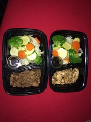 Stay Fit Foods offers several meals, including teriyaki beef (left) and black pepper chicken. All meals offer four ounces of lean protein and a cup of vegetables.