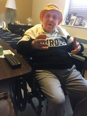 Micky Kor is decked out in Purdue gear for the Saturday, Feb. 18, game against Michigan State. A series of illnesses have kept Kor, a Holocaust survivor, from his season ticket seat at Mackey Arena, but he still won't miss a game from his room in a Terre Haute assisted living facility.